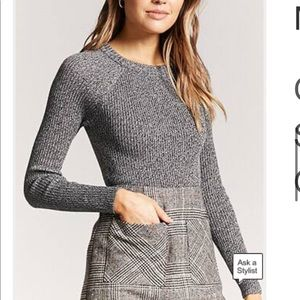 Marled Ribbed Knit Sweater